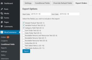 Export Orders Options Screen
