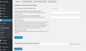 Conditional Woo Checkout Field Pro settings page